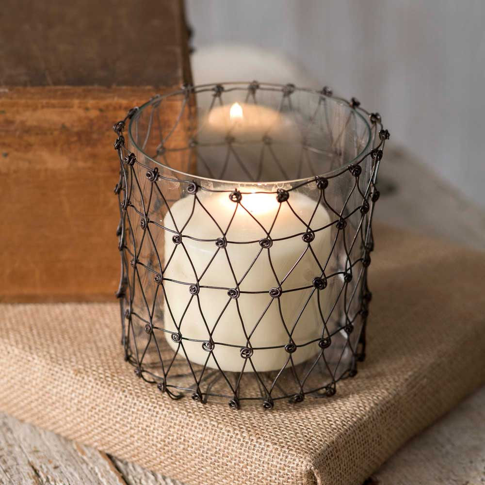 Julia Wire Candle Holder with Glass | Set of 4