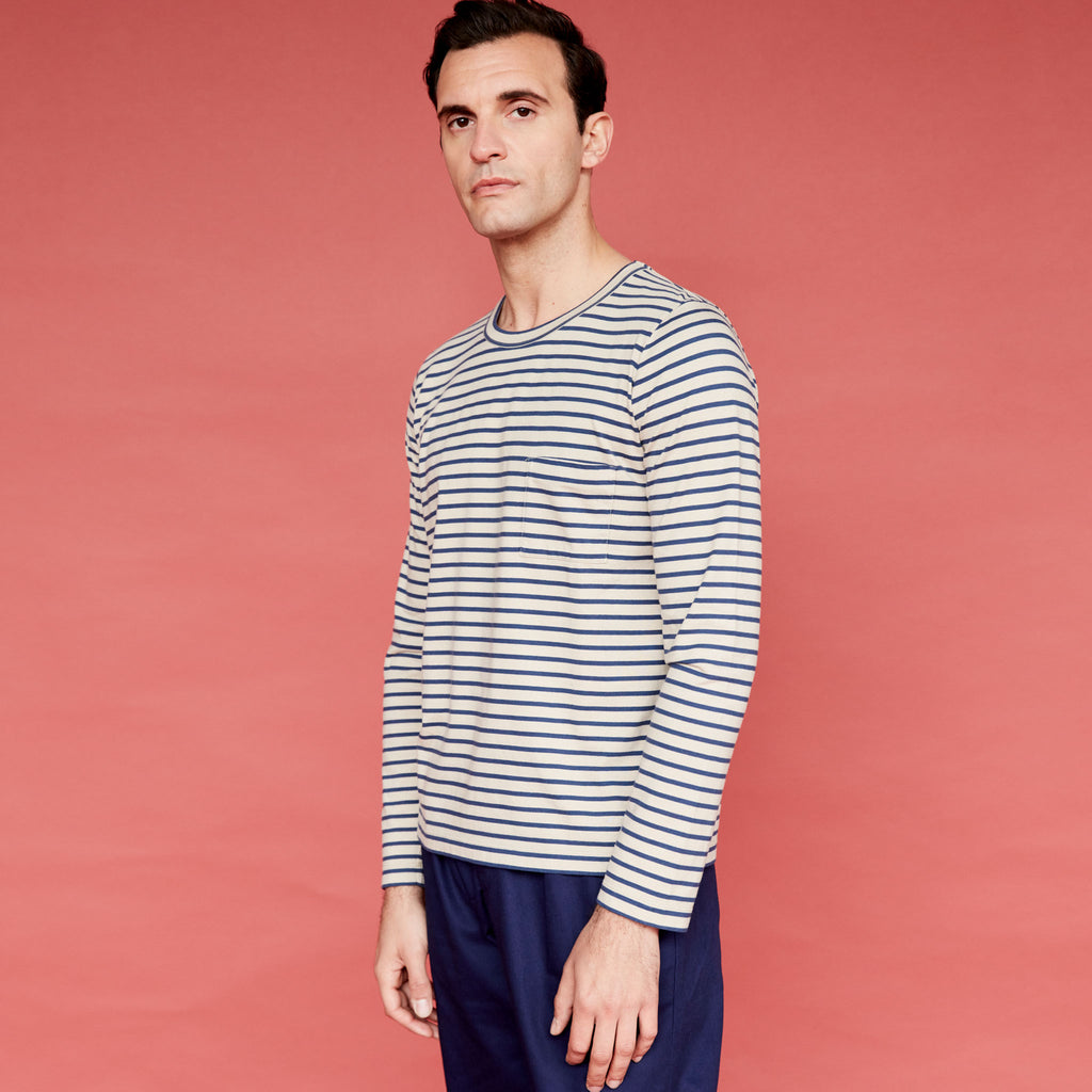 Men's Fine Cotton Long Sleeve T-Shirt (Stone / Navy Stripe)