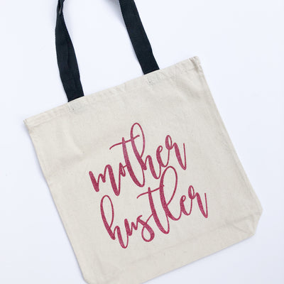 Mother Hustler Pink Glitter Tote