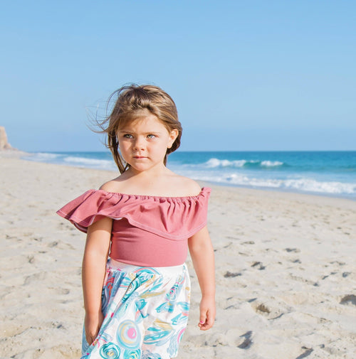 GIRLS OFF THE SHOULDER LEOTARDS - 4 OPTIONS - LITTLE FOOT CLOTHING CO.