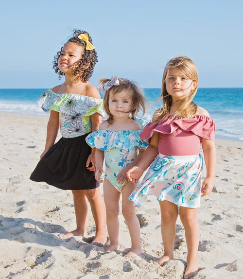 Girls floral off the shoulder leotard - 5 options - LITTLE FOOT CLOTHING CO.