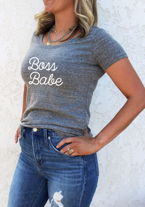 Women's Graphic Tee - Boss Babe - LITTLE FOOT CLOTHING CO.