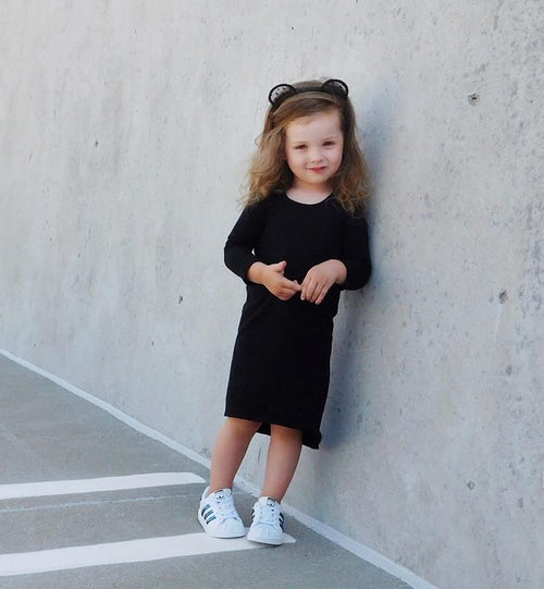 Girls Black Long Sleeve Maxi Dress - LITTLE FOOT CLOTHING CO.