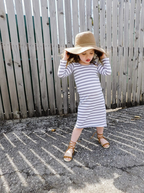 GIRLS LONG SLEEVE MAXI DRESS - GRAY STRIPE - LITTLE FOOT CLOTHING CO.