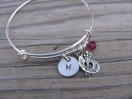 Art Palette Charm Bracelet -Adjustable Bangle Bracelet with an Initial Charm and an Accent Bead of your choice
