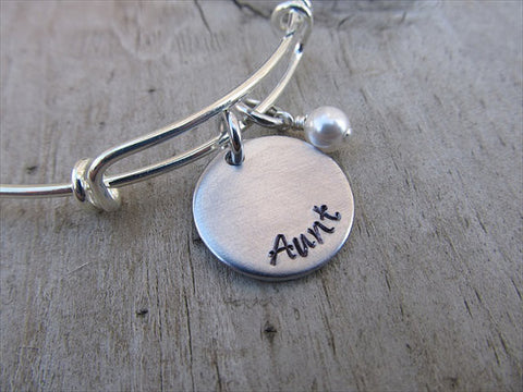 "Aunt Inspiration Bracelet- ""Aunt""  - Hand-Stamped Bracelet  -Adjustable Bangle Bracelet with an accent bead of your choice"
