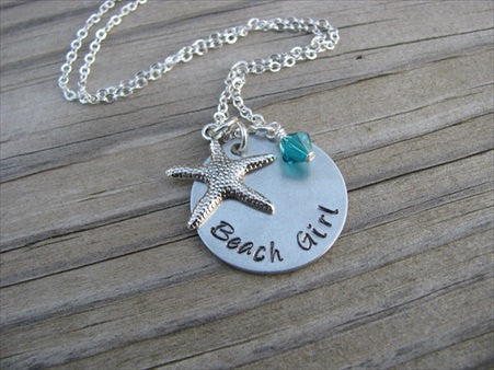 "Beach Inspiration Necklace- ""Beach Girl"" with starfish charm  - Hand-Stamped Necklace  -with an accent bead of your choice"