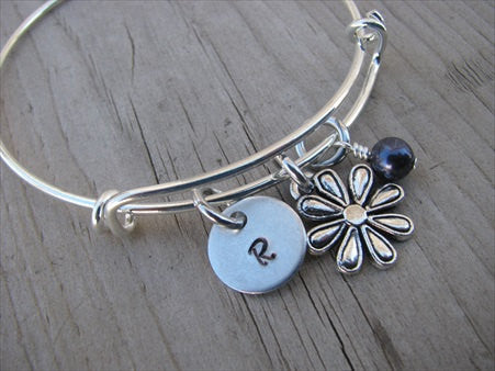 Flower Charm Bracelet -Adjustable Bangle Bracelet with an Initial Charm and Accent Bead in your choice of colors