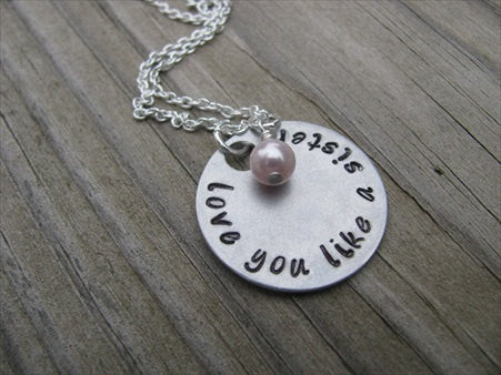 "Friendship Necklace ""love you like a sister""- Hand-Stamped Necklace with an accent bead of your choice"