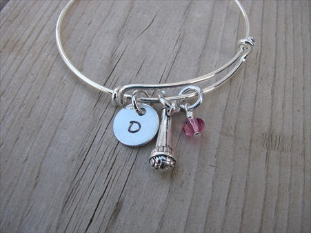 Microphone Charm Bracelet- Gift for Singer- Adjustable Bangle Bracelet with an Initial Charm and an Accent bead of your choice