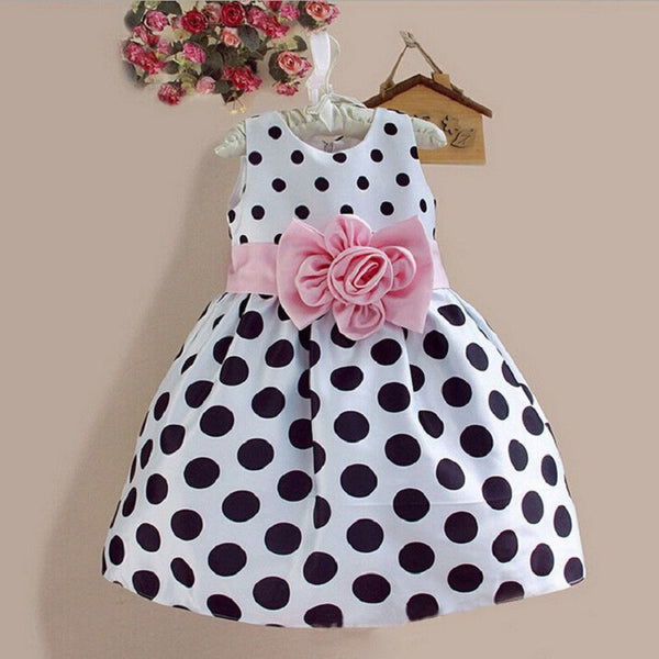 Hot Baby Kids Girls Party Wedding Polka Dot Flower Gown Formal Dress 2-7Y