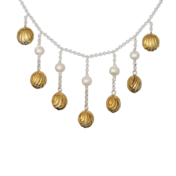 Seven Golden Bells Necklace with White Pearls