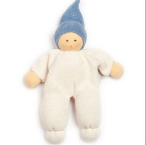 Nanchen Organic Small Doll with Rattle. Blue Hat 18cm