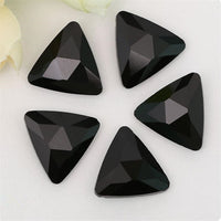 18mm Black Onyx Glass Triangle Pointback Chatons Rhinestones - 10pcs