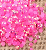 5mm Hot Pink AB Jelly Resin Round Flat Back Loose Rhinestones
