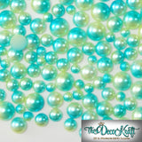 4mm Light Green and Aqua Ombre Mermaid Gradient Resin Round Flat Back Loose Pearls - 10000pcs