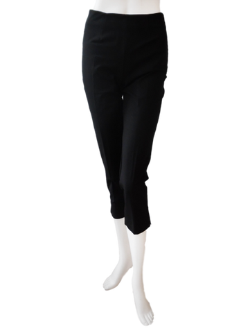 Crop Cotton Stretch Pant in Black