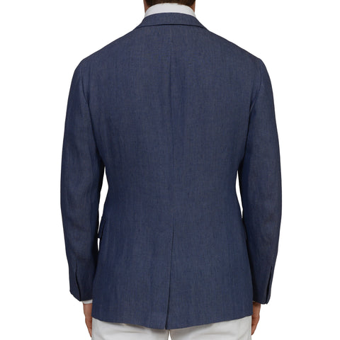 D'AVENZA Roma Handmade Blue Linen Unlined Blazer Jacket EU 50 NEW US 40