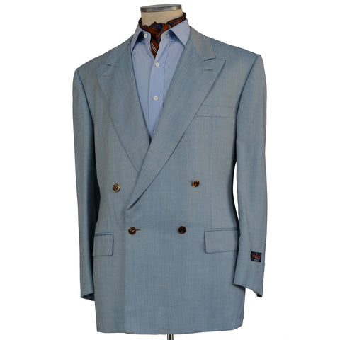 D'AVENZA For DAVINSON CREMIEUX Blue Wool DB Blazer Jacket EU 60 NEW US 50