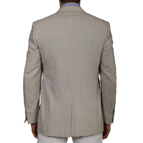 D'AVENZA Handmade Beige Striped Cashmere Blazer Jacket EU 50 NEW US 40