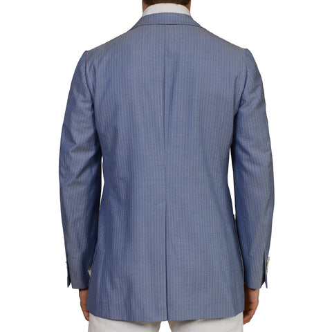 D'AVENZA Roma Blue Striped Wool Cotton Silk Unlined Blazer Jacket 50 NEW US 40