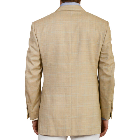 D'AVENZA Roma Handmade Beige Plaid Wool Silk Linen Blazer Jacket 50 NEW US 40