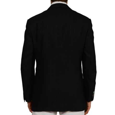 D'AVENZA Roma Handmade Black Silk Peak Lapel Dinner Jacket EU 52 NEW US 42