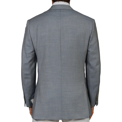 D'AVENZA Roma Handmade Blue Silk Wool Super 100's Blazer Jacket EU 50 NEW US 40