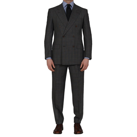 D'AVENZA Roma Handmade Gray Prince of Wales Wool DB Suit EU 49 NEW US 39