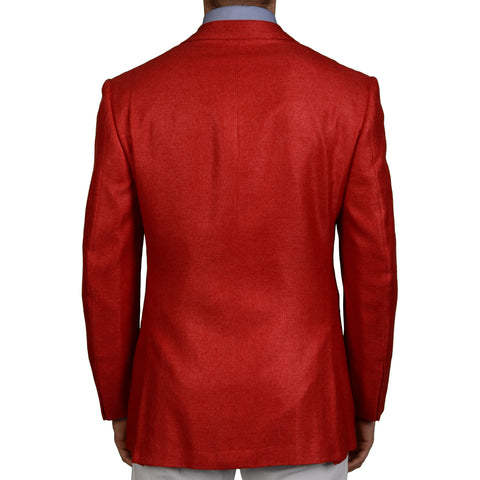 D'AVENZA Roma Handmade Red Hopsack Silk Blazer Jacket EU 50 NEW US 40