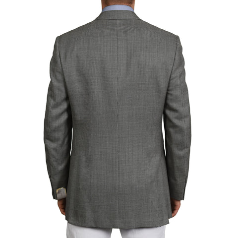 D'AVENZA Roma Handmade Gray Wool Super 120's Silk Blazer Jacket NEW