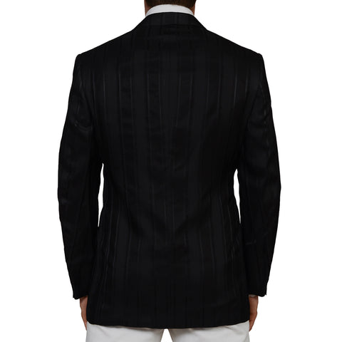 D'AVENZA Handmade Black Silk Dinner Jacket with Waistcoat Set EU 50 NEW US 40