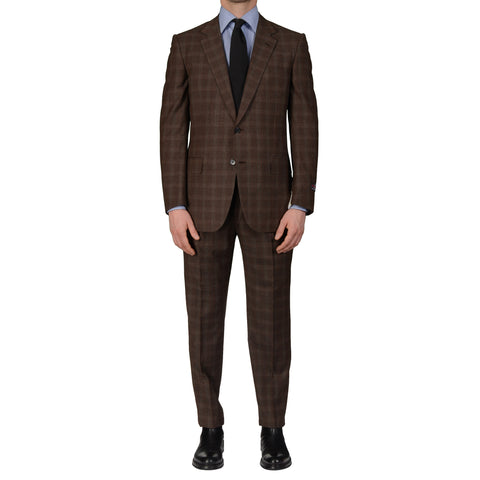 D'AVENZA Roma Handmade Brown Plaid Wool Super 130's Suit EU 50 NEW US 40
