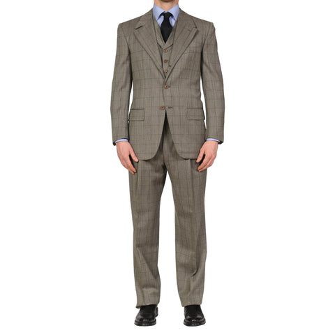 AVI ROSSINI Handmade Gray Plaid Wool 3 Piece Suit EU 50 NEW US 40