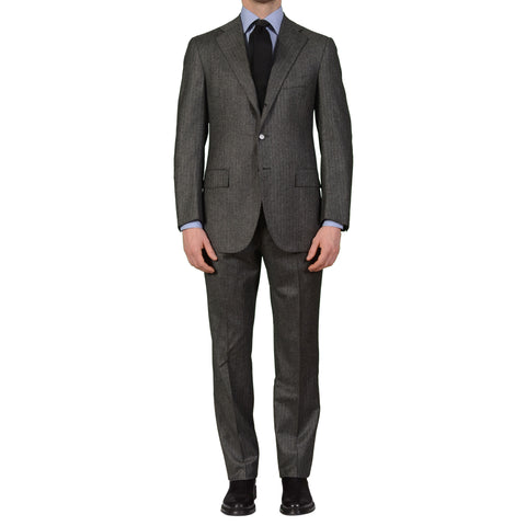 CESARE ATTOLINI Napoli Gray Herringbone Wool-Cashmere Flannel Suit EU 50 NEW US