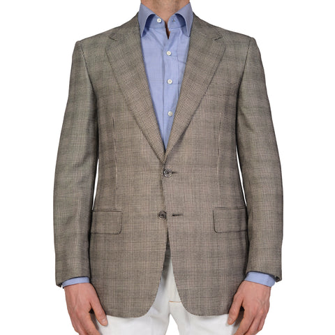 D'AVENZA For BATTAGLIA Handmade Gray Glen Plaid Wool Silk Jacket EU 50 NEW US 40