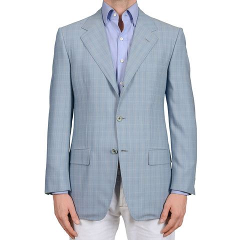 D'AVENZA Roma Handmade Light Blue Plaid Wool Jacket Sport Coat EU 50 NEW US 40