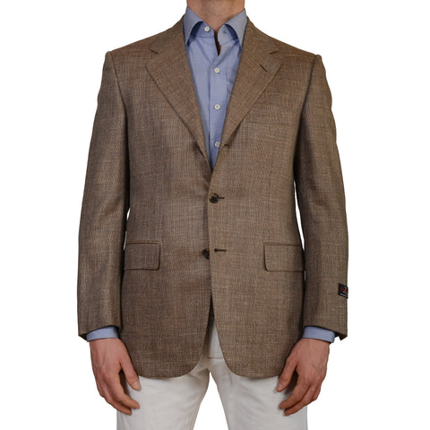 D'AVENZA Handmade Wool Super 120's Silk Mohair Linen Blazer Jacket 50 NEW US 40