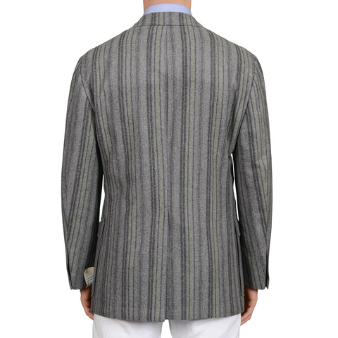 D'AVENZA Handmade Gray Striped Wool Cashmere Unlined Blazer Jacket 50 NEW US 40