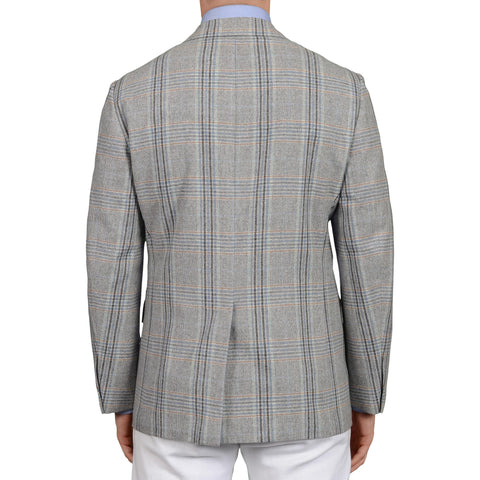 D'AVENZA Handmade Light Gray Plaid Wool-Cashmere Unlined Jacket EU 50 NEW US 40
