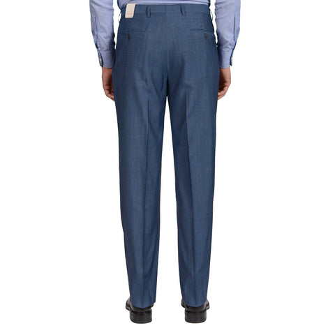 D'AVENZA Roma Blue Striped Wool DP Dress Pants EU 50 NEW US 34 Classic Fit