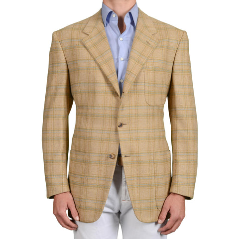 D'AVENZA Roma Handmade Beige Plaid Cashmere Jacket Sport Coat EU 50 NEW US 40