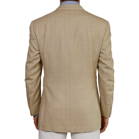 D'AVENZA Roma Handmade Beige Plaid Silk Wool DB Blazer Jacket EU 52 NEW US 42