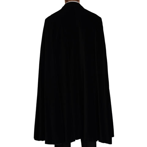 D'AVENZA Roma Handmade Black Cotton Velvet Peak Lapel Cloak EU 50 NEW US 40