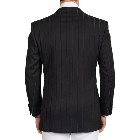 D'AVENZA Roma Handmade Black Striped Wool-Silk Dinner Jacket EU 52 NEW US 42