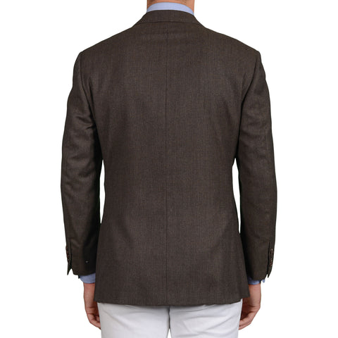 D'AVENZA Roma Handmade Brown Birdseye Wool Jacket EU 52 NEW US 42 Short