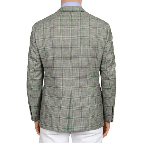 D'AVENZA Roma Handmade Gray-Green Plaid Wool Cashmere Jacket EU 50 NEW US 40