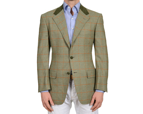 D'AVENZA Roma Handmade Olive Wool Flannel Jacket Leather Trims NEW