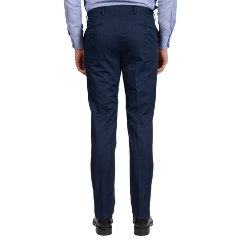 D'AVENZA Roma Handmade Navy Blue Cotton Flat Front Dress Pants NEW