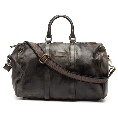 GIANLUCA VACCHI Collection Dark Gray Antiqued Vintage Look Leather Duffle Bag NE